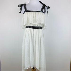 TOPSHOP Polka Dot Tie Shoulder hi low dress sz 4